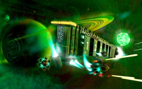 Picture space, star, ship, planet, fighter, battle, art, green, space, Fiction, cruiser, FullHD
