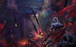 Wallpaper fire, war, fortress, warriors, storm, catapult, siege, perfect world
