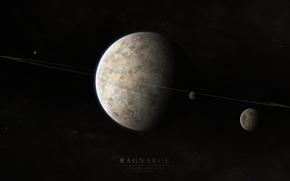 Picture space, light, Planet, ring, Ragnarok, satellites
