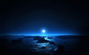 Picture sea, night, the moon, Blue night