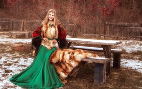 Picture girl, decoration, smile, table, hair, skirt, village, blonde, Fox, fur, shawl, vest