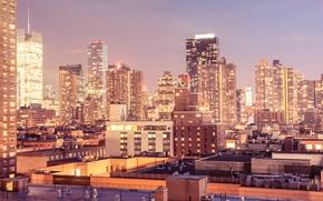 Picture lights, USA, United States, skyline, New York, Manhattan, NYC, New York City, dusk, architecture, Midtown …