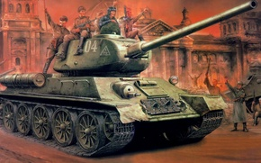 Picture war, art, painting, ww2, T-34-85