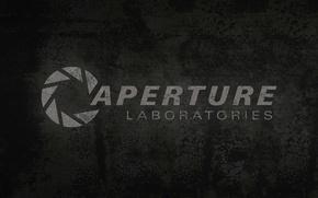 Picture grey, background, the portal, logo, Portal, Aparture Labaratories, multi-screen, multiscreen, lab