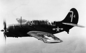 Picture flight, retro, the plane, pilot, bomber, Board-shooter, Curtiss, Helldiver