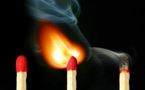 Wallpaper smoke, 157, matches, fire
