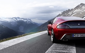 Picture the sky, mountains, red, coupe, BMW, BMW, rear view, Coupe, Zagato, Zagato