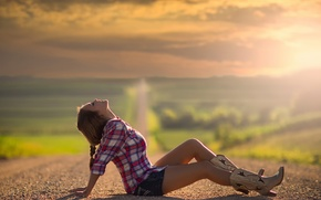 Picture the sun, space, Country, girl.road