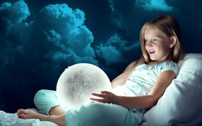 Wallpaper girl, the moon, surprise, joy, clouds, lamp