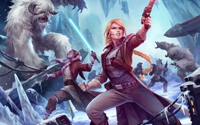 Picture ice, weapons, girls, Star Wars, art, monsters, battle, lightsaber