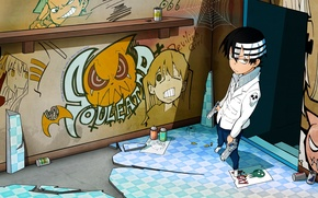 Picture graffiti, paint, anime, drawings, guy, death the kid