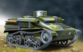 Picture war, art, painting, tank, BeobachtungsPz Mk VI 736(e)