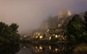 Picture fog, castle, France, morning, medieval, Château de Beynac, the Dordogne river