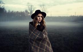 Picture girl, winter, fog