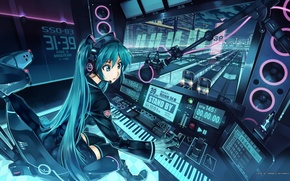 Wallpaper station, trains, vocaloid, hatsune miku