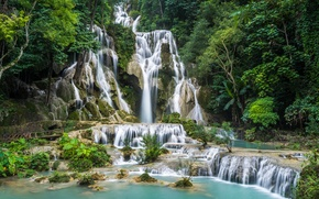 Wallpaper Laos, stones, waterfall, Kuang Si Waterfall, trees, rocks, forest