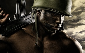 Picture weapons, background, male, helmet, black