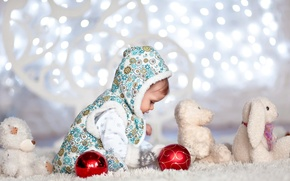 Picture light, lights, holiday, toy, child, baby, rabbits, happy