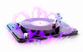 Picture style, music, mood, white background, modern gramophone