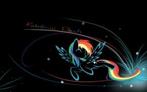 Picture dash, name, background, my little pony, mlp, rainbow dash, black, rainbow, the inscription