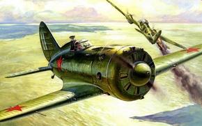 Picture the sky, war, fighter, Art, Ass, -16, piston, Polikarpov, Soviet. single-engine