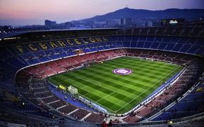 Picture The evening, Field, Football, Barcelona, Stadium, Camp Nou, Camp Nou