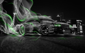 Wallpaper Auto, Night, The city, Smoke, Neon, Green, Machine, City, Drift, Toyota, Drift, Car, Art, Photoshop, ...