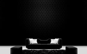 Wallpaper sofa, Ottoman, pillow, black and white, carpet, Wallpaper