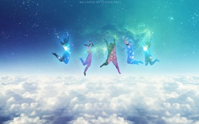 Picture Clouds, Stars, Space, Blue, Galaxy, Jumping