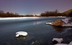 Wallpaper river, stones, Winter