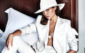 Wallpaper Alicia Vikander, Alicia Vikander, Mario Testino, pants, sitting, hairstyle, jacket, in white, model, hat, posing, ...