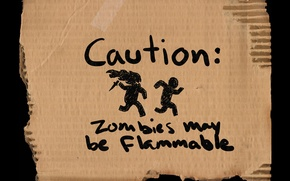 Wallpaper warning, flammable, may be, caution, zombies, cardboard, zombies