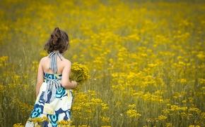 Picture field, flowers, children, background, widescreen, Wallpaper, mood, child, dress, brunette, girl, wallpaper, flowers, flower, widescreen, ...