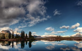 Picture clouds, mountains, lake, reflection, panorama