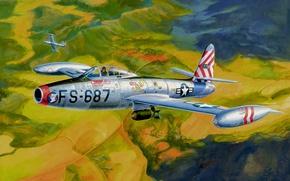 Picture bomber, war, art, painting, aviation, jet fighter, Republic F-84 Thunderjet