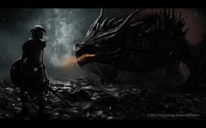Picture skyrim, dragon, dragon born, dovakin