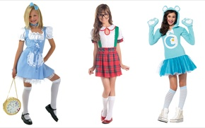 Picture children, mood, girls, three, cosplay, facial expressions, dolls, kids, wonder girls, dolls