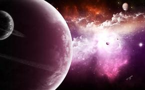 Picture light, stars, planet, satellites, Sci Fi