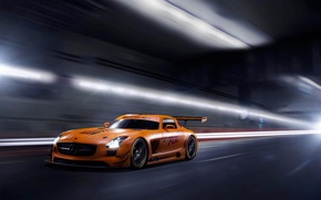 Picture orange, Mercedes-Benz, the tunnel, AMG, SLS, GT3, orange, Mercedes Benz