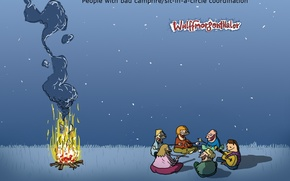 Picture humor, Wulffmorgenthaler, the fire, caricature, picnic