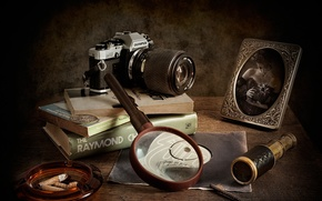 Picture books, portrait, magnifier, the camera, detectives, Watching The Detectives