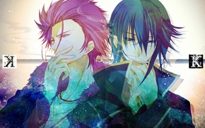 Picture text, guys, cigarette, K Project, Munakata Thigh, Suoh Mikoto, red king, blue king
