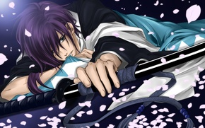 Wallpaper sword, anime, petals, guy