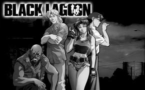Wallpaper anime, black, Black Lagoon, white