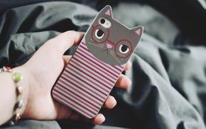 Wallpaper strips, iphone, case, hand, iPhone, strip, cat