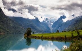 Picture clouds, mountains, meadow, Norway, Norway, Onderdelen, Nordfjord, Nord-fjord