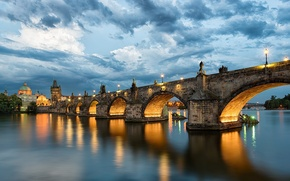 Picture the sky, water, clouds, the city, reflection, river, the evening, Prague, Czech Republic, lighting, lights, …