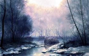 Wallpaper swamp, snow, Figure