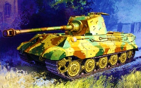Picture war, art, painting, tank, TIGER II