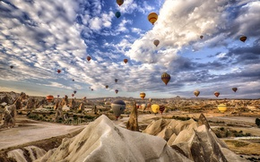 Picture the sky, clouds, mountains, balloon, rocks, Turkey, Cappadocia